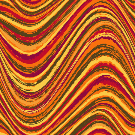 Abstract hypnotic orange red brown wavy seamless pattern Vector