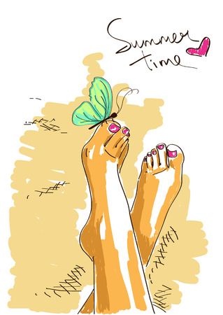 animal foot: Illustration with sunburn bare feet of girl in relaxed pose Illustration