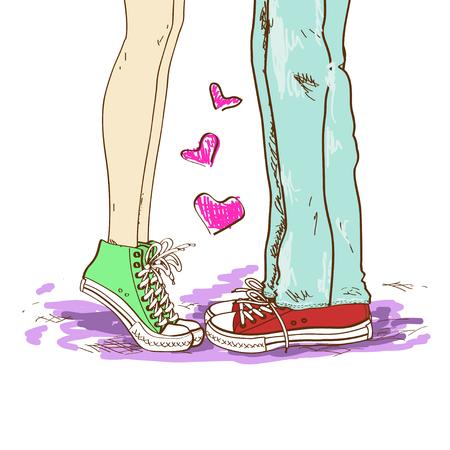 innamorati che si baciano: Illustrazione disegnata a mano con gambe di coppia in amore