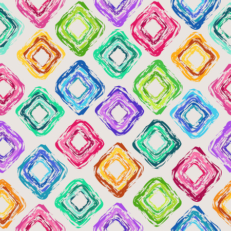 Fun abstract seamless pattern of colorful hand drawn rhombus Vector