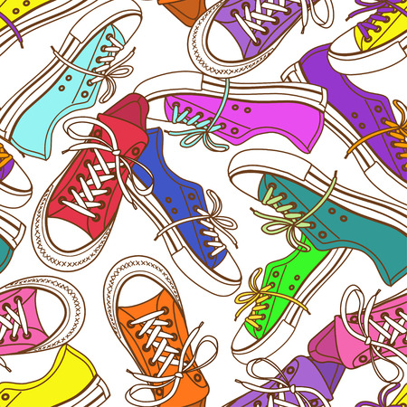 Abstract seamless pattern of colorful sneakers