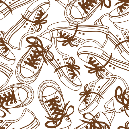 shoelace: Sketch abstract seamless pattern of sneakers