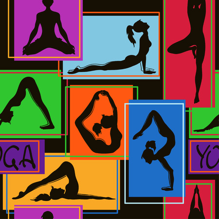 Abstract colorful geometric seamless pattern of yoga poses Vector