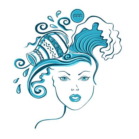 ewer: Zodiac sign of Aquarius stylized with beautiful girl portrait