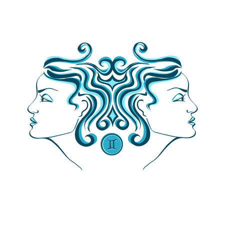 Zodiac sign of Gemini stylized with beautiful girl portrait Vector