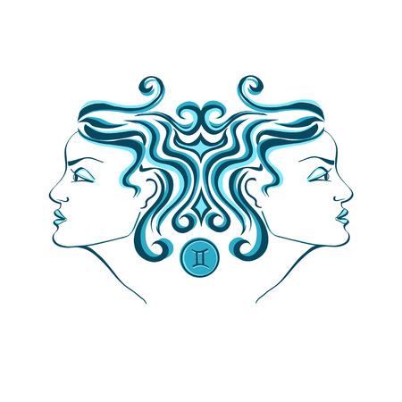 gemini girl: Zodiac sign of Gemini stylized with beautiful girl portrait Illustration