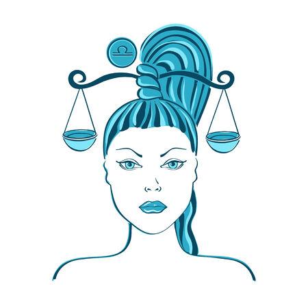 libra: Zodiac sign of Libra stylized with beautiful girl portrait
