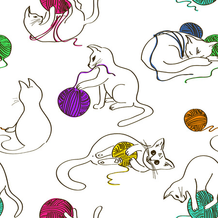 Seamless pattern with cute funny cats playing ball of yarn