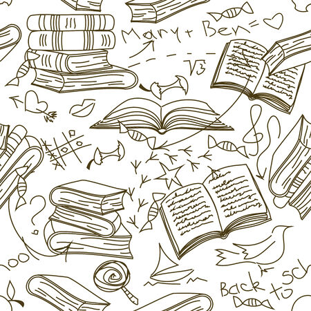 apple core: Funny doodle seamless pattern of books and childrens scribbles