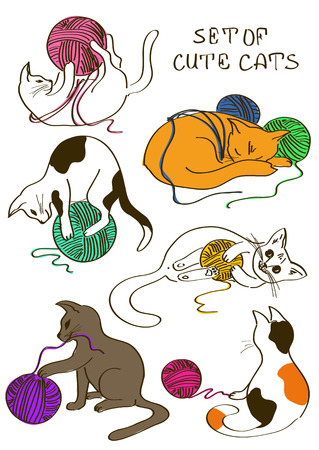 Set of isolated doodle funny cats playing ball of yarn
