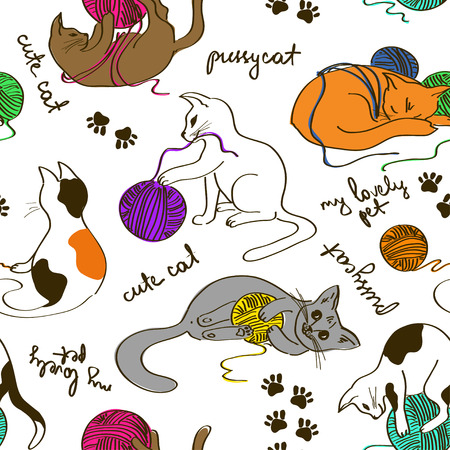 cats playing: Seamless pattern with cute funny cats playing ball of yarn
