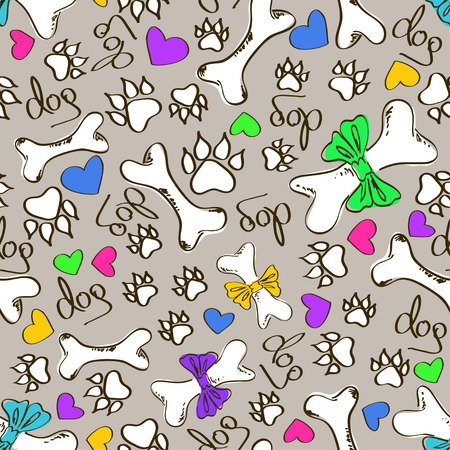 Abstract hand drawn colorful seamless pattern of dogs paws and bones Vector