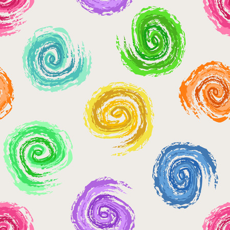 Abstract seamless pattern of colorful hand drawn spirals Vector