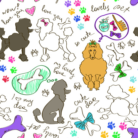 Funny abstract hand drawn seamless pattern of poodle dogs Vector