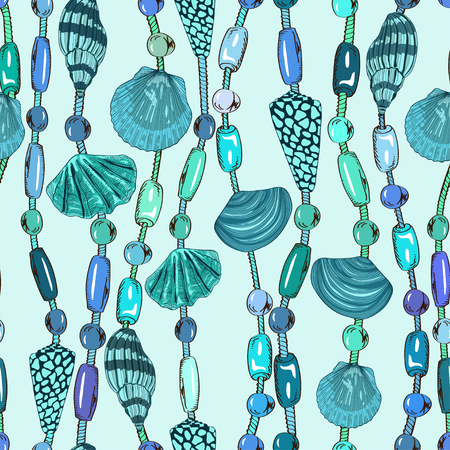 Seamless pattern of seashell and beads jewelry  Vector