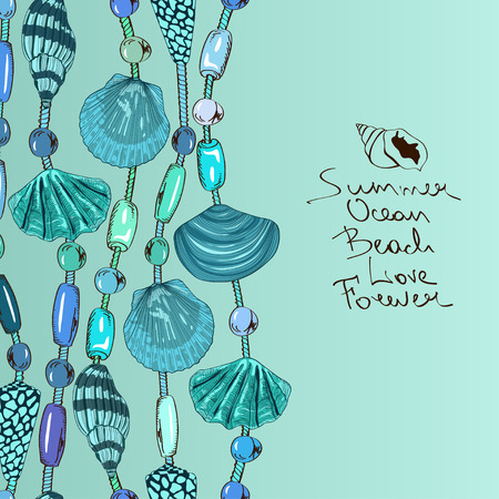 bijouterie: Hand drawn illustration with jewelry of seashell and beads