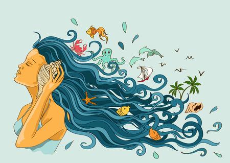 Illustration avec une belle fille écoutant de la coquillage Banque d'images - 27782110
