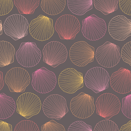 Colorful seamless pattern of hand drawn seashells Vector