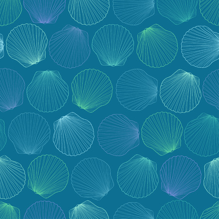 Blue green seamless pattern of seashells Illustration