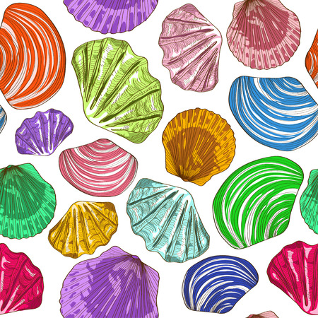Seamless pattern of colorful hand drawn seashells Vector