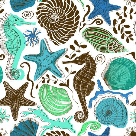Seamless pattern of colorful hand drawn seashells, starfish and seahorse