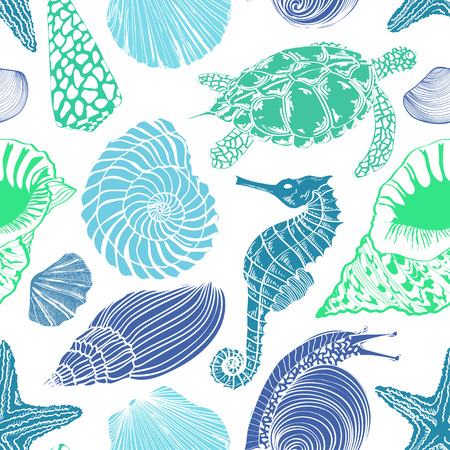 Blue green white seamless pattern of sea animals Vector