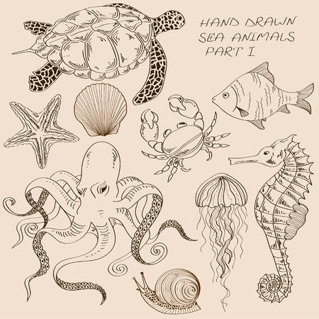 Conjunto de aislados dibujados a mano de contorno animales marinos Vectores