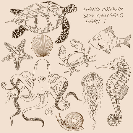 Set of isolated hand drawn contour sea animals