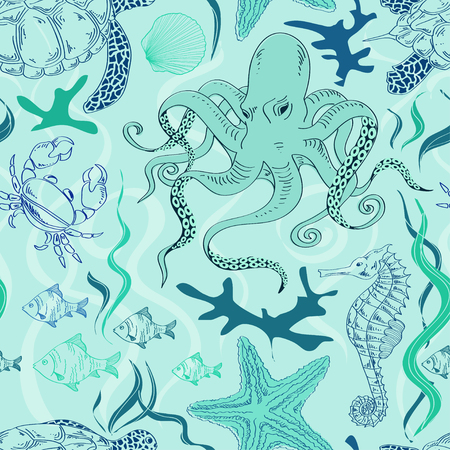Blue seamless pattern of hand drawn sea animals Vector