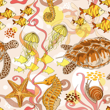 Seamless pattern of hand drawn sea animals Vector