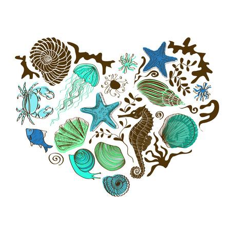 caballo de mar: Ilustración con el corazón de la mano dibuja animales marinos y conchas