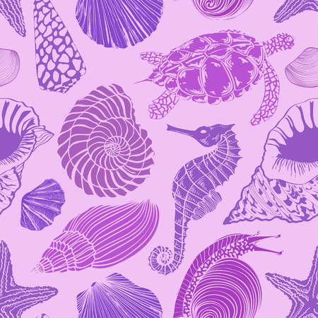 Purple seamless pattern of sea animals Vector