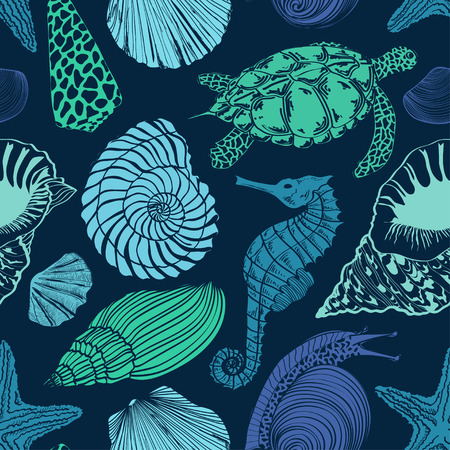 Blue green seamless pattern of sea animals Vector