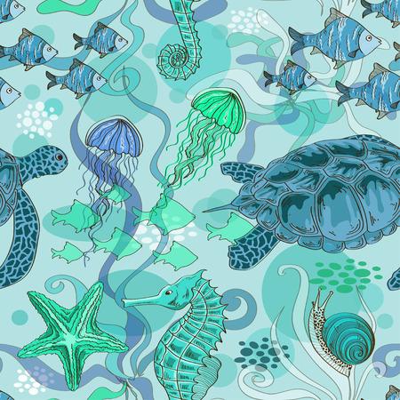 Azul sin fisuras patrón verde de los animales de mar Foto de archivo - 28068141