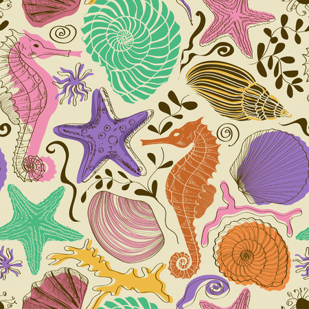 sea horse: Seamless pattern of colorful hand drawn seashells, starfish and seahorse