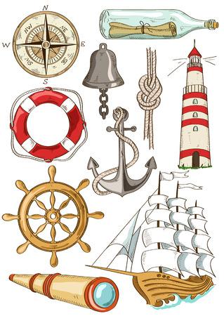 Ensemble de main isolé bande dessinée dessinée icônes nautiques