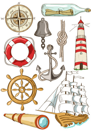 spyglass: Set of isolated hand drawn cartoon nautical icons
