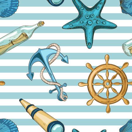 アンカー、ホイール、ヒトデ、貝、スパイグラス、メッセージ入りのボトルの航海ストライプ シームレス パターン