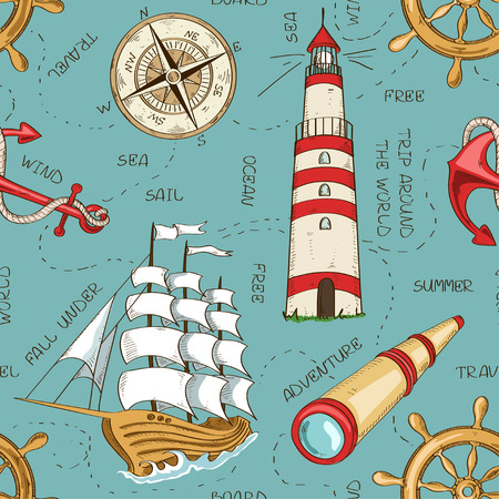 spyglass: Nautical seamless pattern of sailboat, anchor, wheel, spyglass, lighthouse and compass Illustration