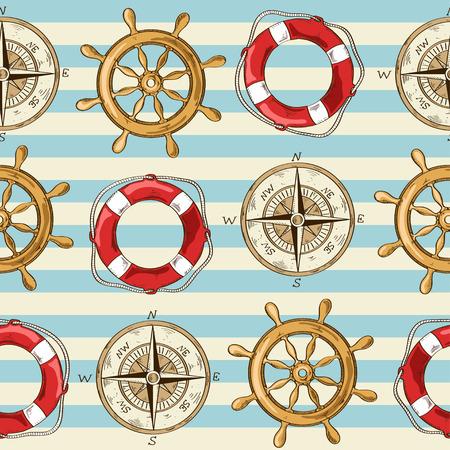 cruise cartoon: Nautical striped seamless pattern of wheel, compass and lifebuoy