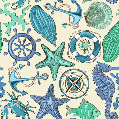 cartoon hand drawn seamless pattern of sea animals and nautical elements
