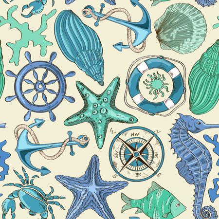 cartoon hand drawn seamless pattern of sea animals and nautical elements