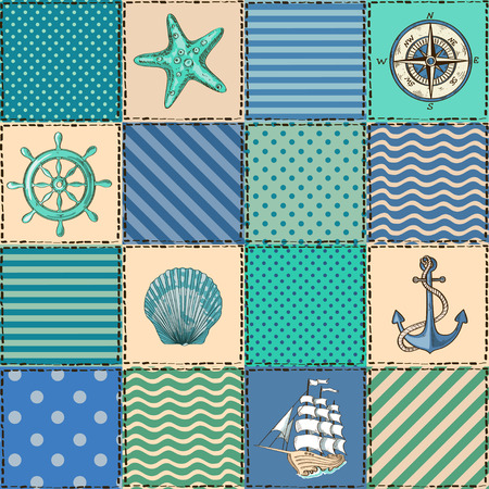 Nautical patchwork seamless pattern with seashell, starfish, anchor, wheel, sailboat and compass Vector