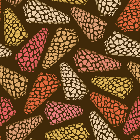 cockle: Seamless pattern of leopard seashells