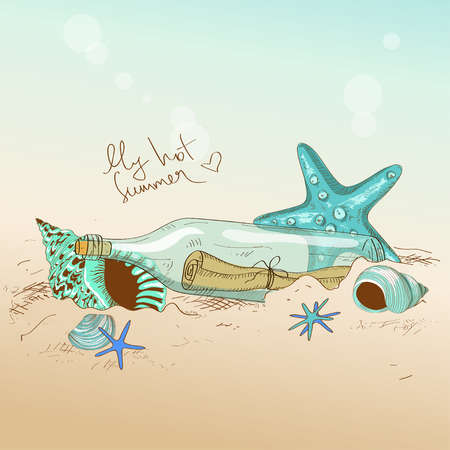 Summer hand drawn illustration of seashells, starfish and bottle with a message Vector