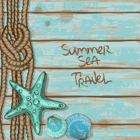 seashell: Hand drawn retro boards of ship deck background with rope, starfish and seashells Illustration