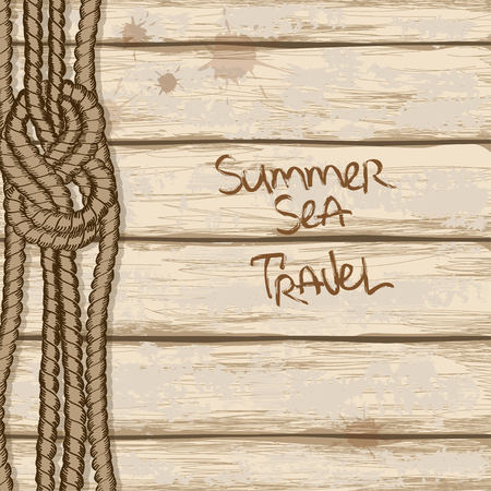 ship deck: Hand drawn rope with marine knot on retro ship boards of deck background