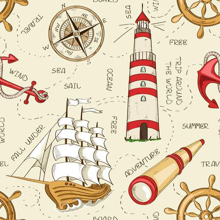 ヨット、アンカー、ホイール、スパイグラス、灯台およびコンパスの航海のシームレスなパターン
