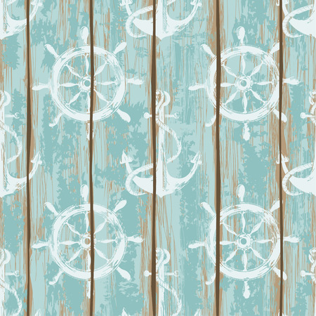 Old boards of ship deck seamless pattern painted by anchors and wheels print Vector