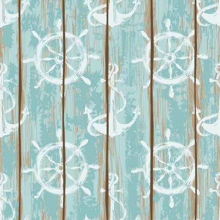 azul marino: Viejas tarjetas de la cubierta del barco, seamless, patrón pintadas por las anclas y las ruedas de impresión Vectores